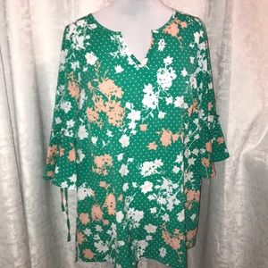 Lane Bryant green peach flower blouse 14